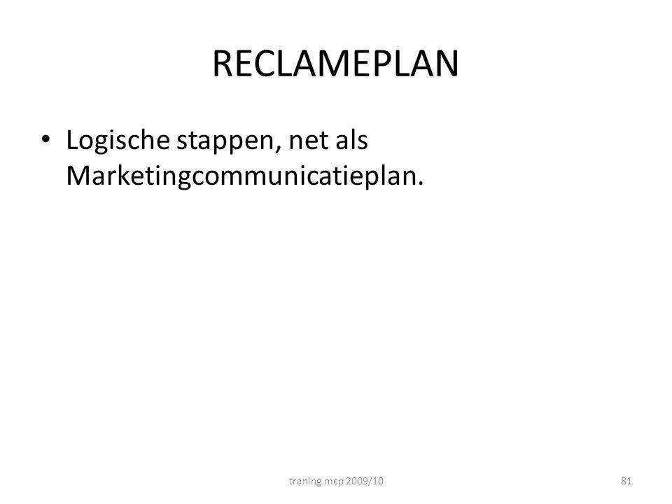 RECLAMEPLAN Logische stappen, net als Marketingcommunicatieplan. traning mcp 2009/1081