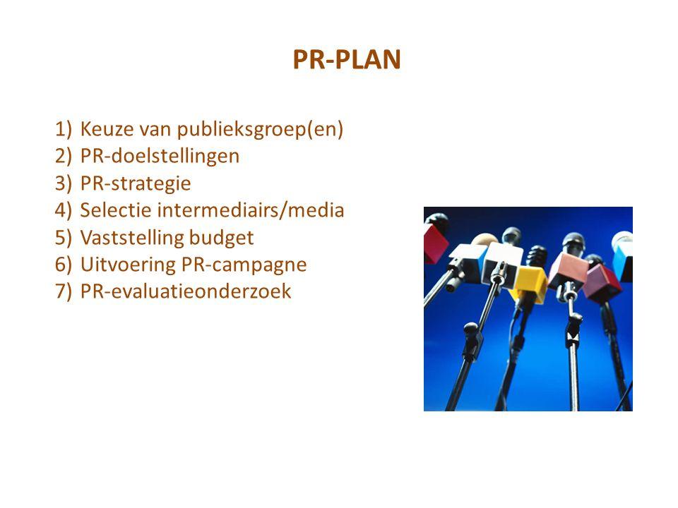 1)Keuze van publieksgroep(en) 2)PR-doelstellingen 3)PR-strategie 4)Selectie intermediairs/media 5)Vaststelling budget 6)Uitvoering PR-campagne 7)PR-evaluatieonderzoek PR-PLAN