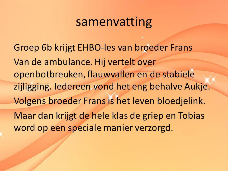 samenvatting Groep 6b krijgt EHBO-les van broeder Frans Van de ambulance.