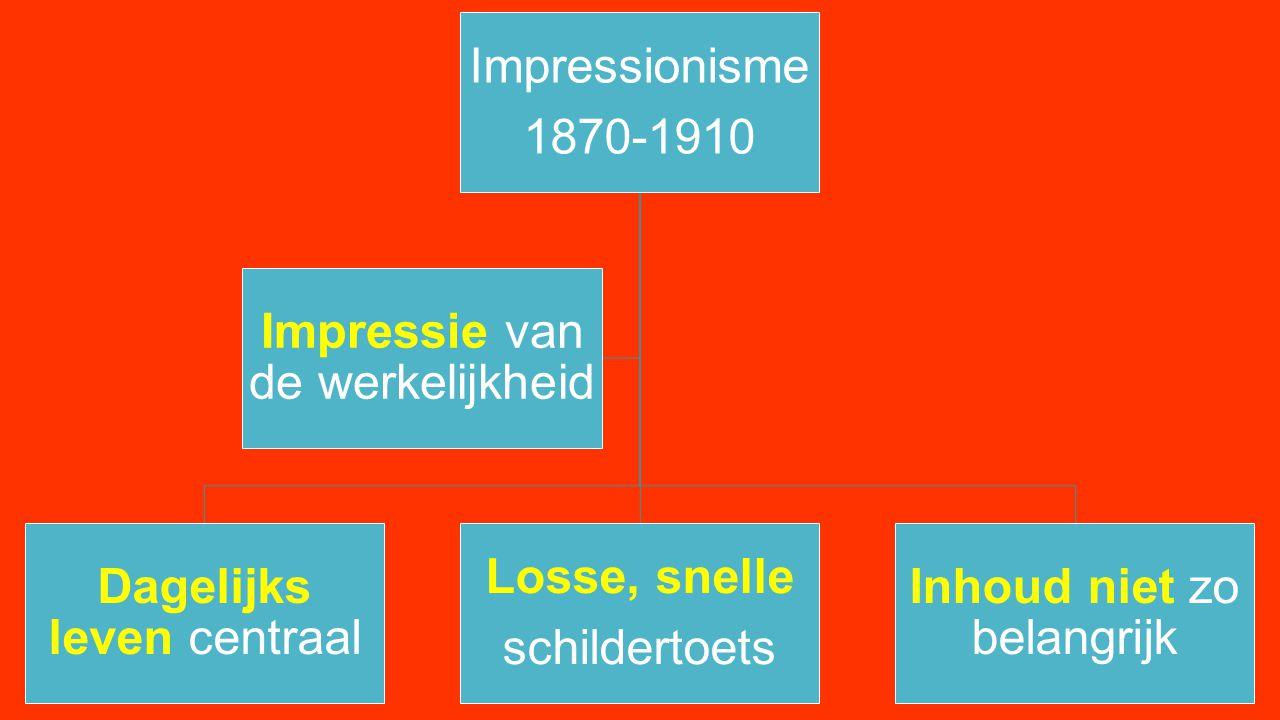 Impressionisme 1870-1910 Dagelijks leven centraal Losse, snelle schildertoets Inhoud niet zo belangrijk Impressie van de werkelijkheid