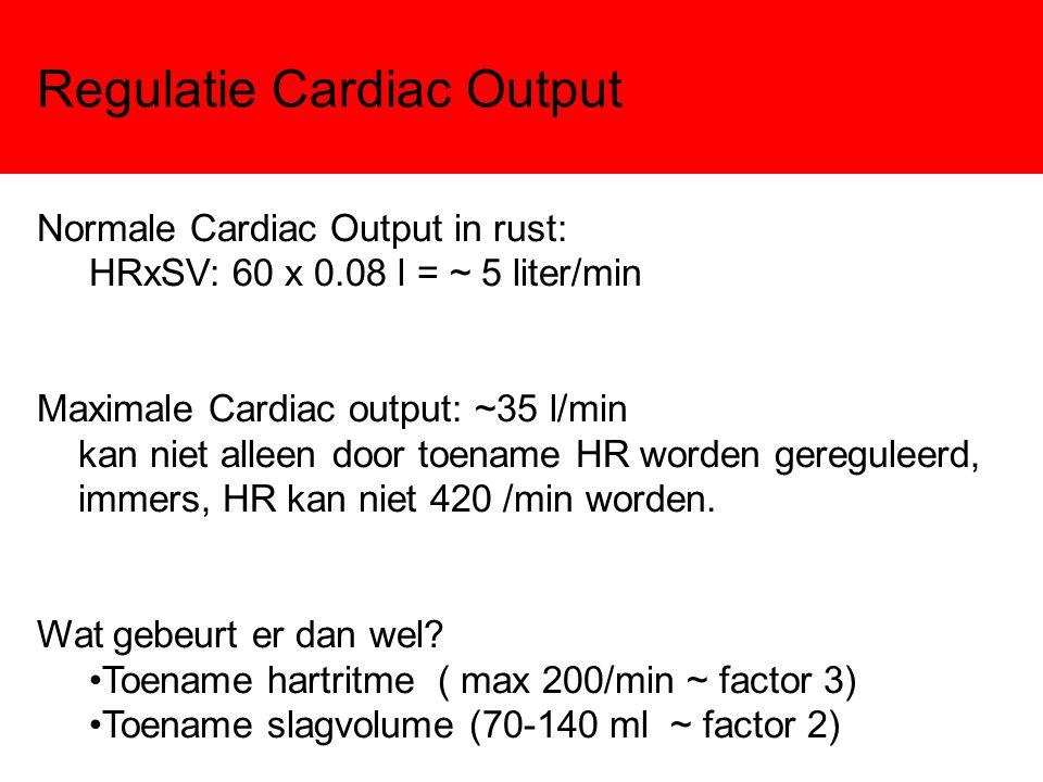 Regulatie Cardiac Output Normale Cardiac Output in rust: HRxSV: 60 x 0.08 l = ~ 5 liter/min Maximale Cardiac output: ~35 l/min kan niet alleen door to
