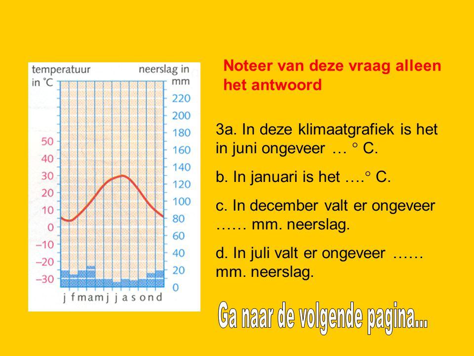 2. 3a. In deze klimaatgrafiek is het in juni ongeveer … ° C. b. In januari is het ….° C. c. In december valt er ongeveer …… mm. neerslag. d. In juli v