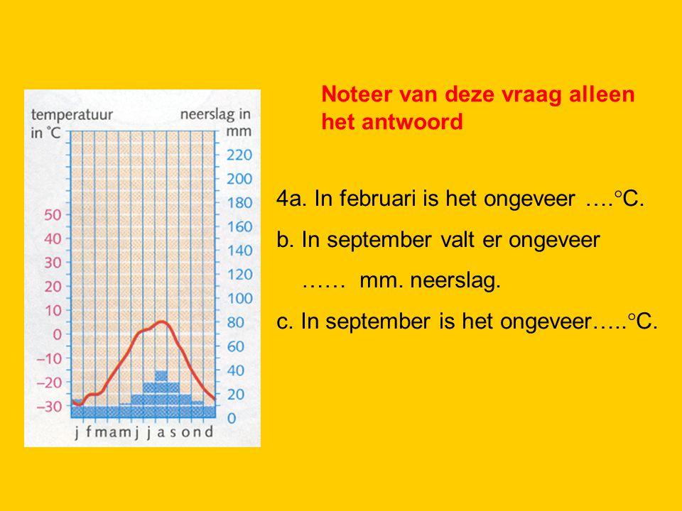2. 4a. In februari is het ongeveer ….°C. b. In september valt er ongeveer …… mm. neerslag. c. In september is het ongeveer…..°C. Noteer van deze vraag