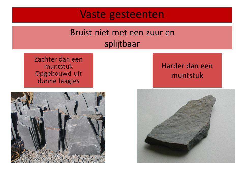Bruist niet met een zuur en splijtbaar Vaste gesteenten Zachter dan een muntstuk Opgebouwd uit dunne laagjes Harder dan een muntstuk