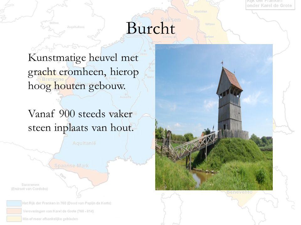 Burcht Kunstmatige heuvel met gracht eromheen, hierop hoog houten gebouw. Vanaf 900 steeds vaker steen inplaats van hout.