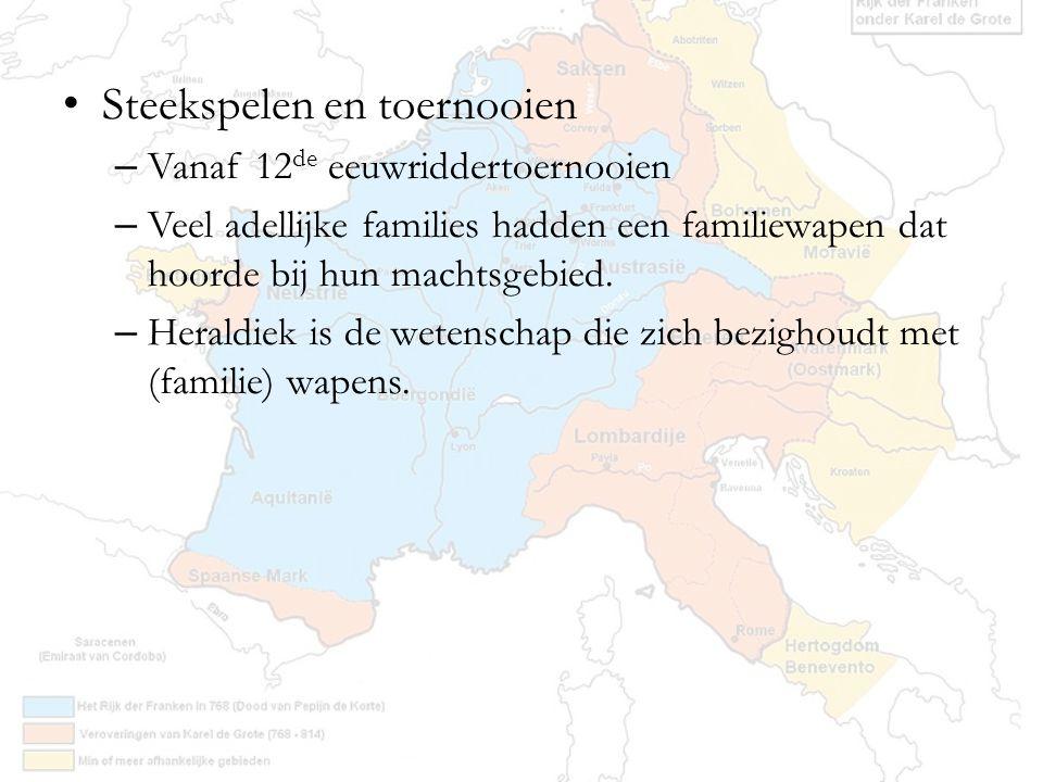 Steekspelen en toernooien – Vanaf 12 de eeuwriddertoernooien – Veel adellijke families hadden een familiewapen dat hoorde bij hun machtsgebied. – Hera