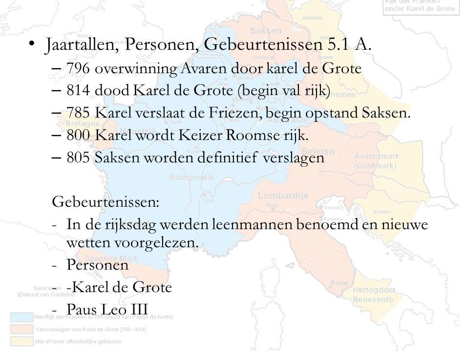 Jaartallen, Personen, Gebeurtenissen 5.1 A. – 796 overwinning Avaren door karel de Grote – 814 dood Karel de Grote (begin val rijk) – 785 Karel versla