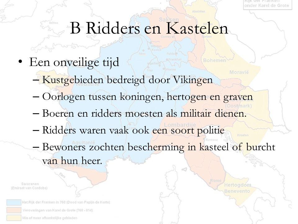 B Ridders en Kastelen Een onveilige tijd – Kustgebieden bedreigd door Vikingen – Oorlogen tussen koningen, hertogen en graven – Boeren en ridders moes