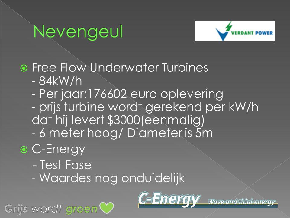 Free Flow Underwater Turbines - 84kW/h - Per jaar:176602 euro oplevering - prijs turbine wordt gerekend per kW/h dat hij levert $3000(eenmalig) - 6