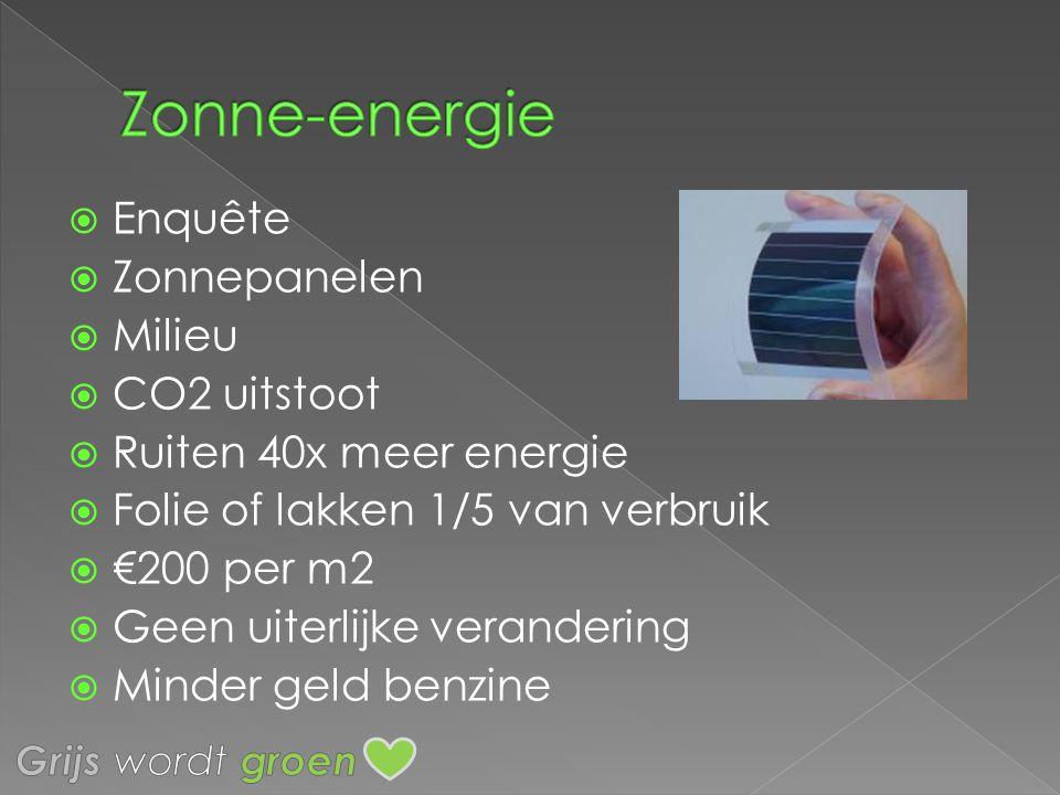  Enquête  Zonnepanelen  Milieu  CO2 uitstoot  Ruiten 40x meer energie  Folie of lakken 1/5 van verbruik  €200 per m2  Geen uiterlijke verander