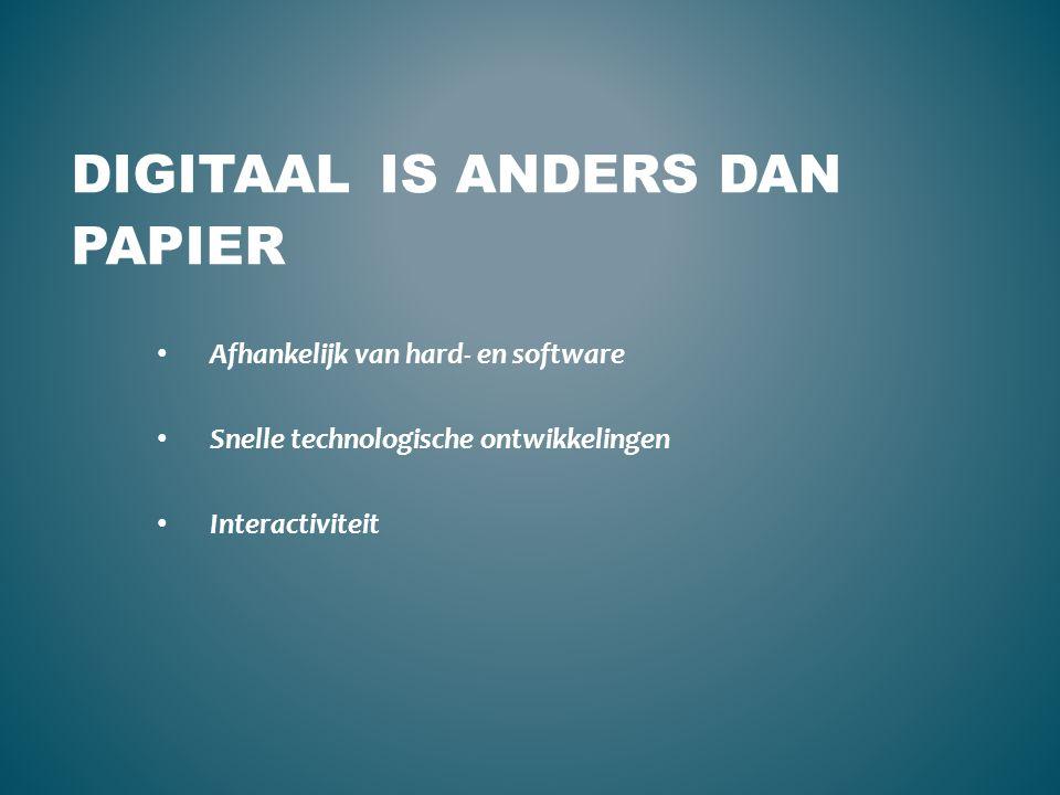 DIGITAAL IS ANDERS DAN PAPIER Afhankelijk van hard- en software Snelle technologische ontwikkelingen Interactiviteit