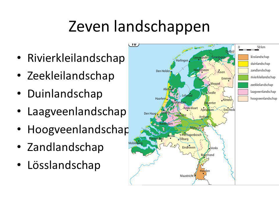 Zeven landschappen Rivierkleilandschap Zeekleilandschap Duinlandschap Laagveenlandschap Hoogveenlandschap Zandlandschap Lösslandschap