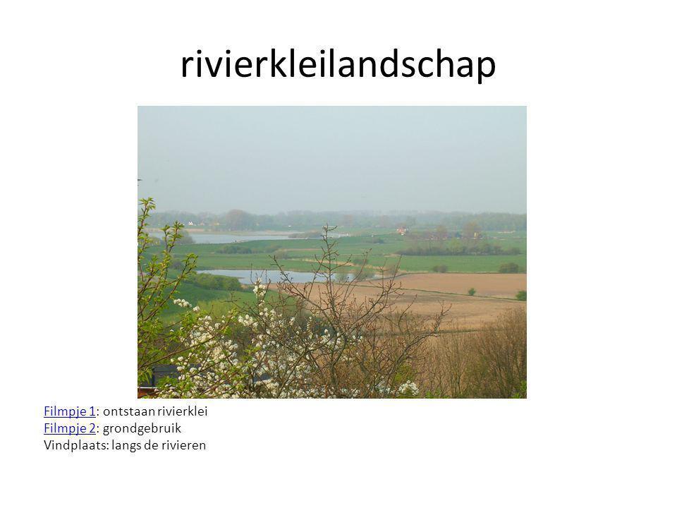 rivierkleilandschap Filmpje 1Filmpje 1: ontstaan rivierklei Filmpje 2Filmpje 2: grondgebruik Vindplaats: langs de rivieren