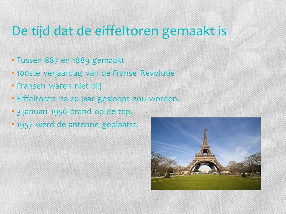 De tijd dat de eiffeltoren gemaakt is Tussen 887 en 1889 gemaakt 100ste verjaardag van de Franse Revolutie Fransen waren niet blij Eiffeltoren na 20 j