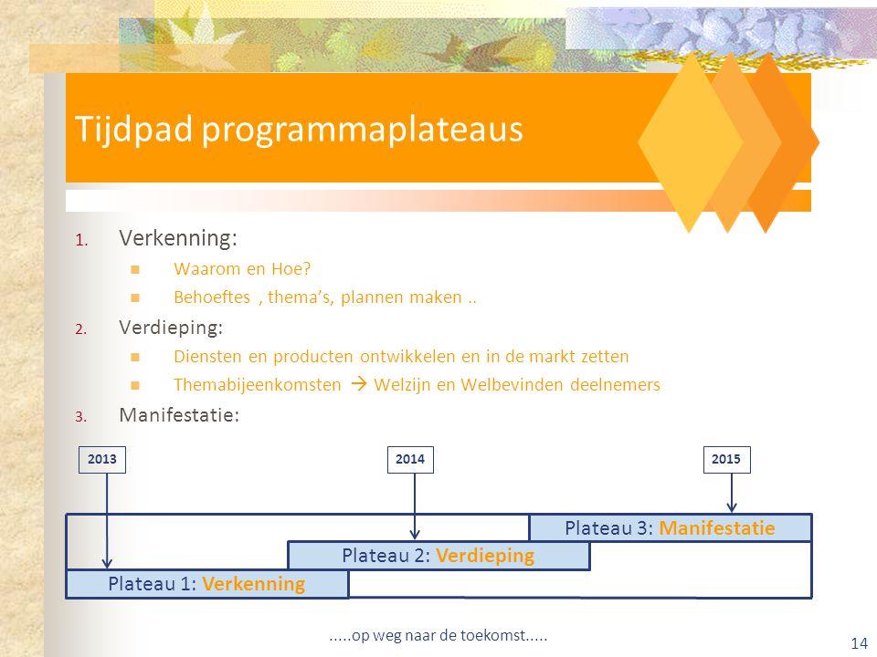 Tijdpad programmaplateaus 1.Verkenning: Waarom en Hoe.