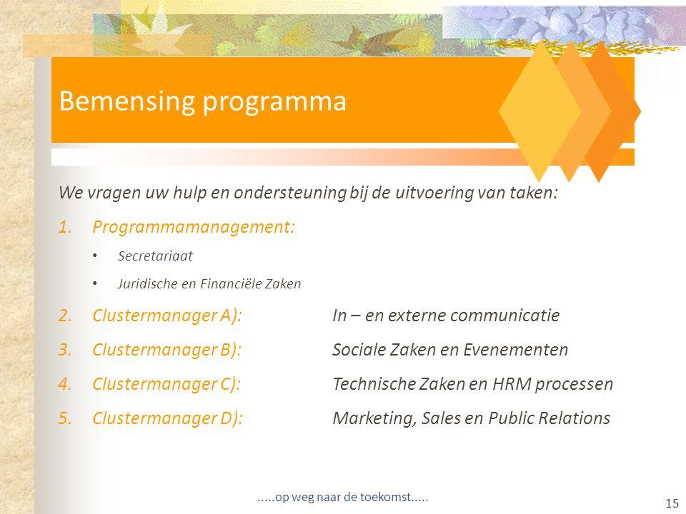 We vragen uw hulp en ondersteuning bij de uitvoering van taken: 1.Programmamanagement: Secretariaat Juridische en Financiële Zaken 2.Clustermanager A):In – en externe communicatie 3.Clustermanager B):Sociale Zaken en Evenementen 4.Clustermanager C):Technische Zaken en HRM processen 5.Clustermanager D):Marketing, Sales en Public Relations Bemensing programma.....op weg naar de toekomst.....