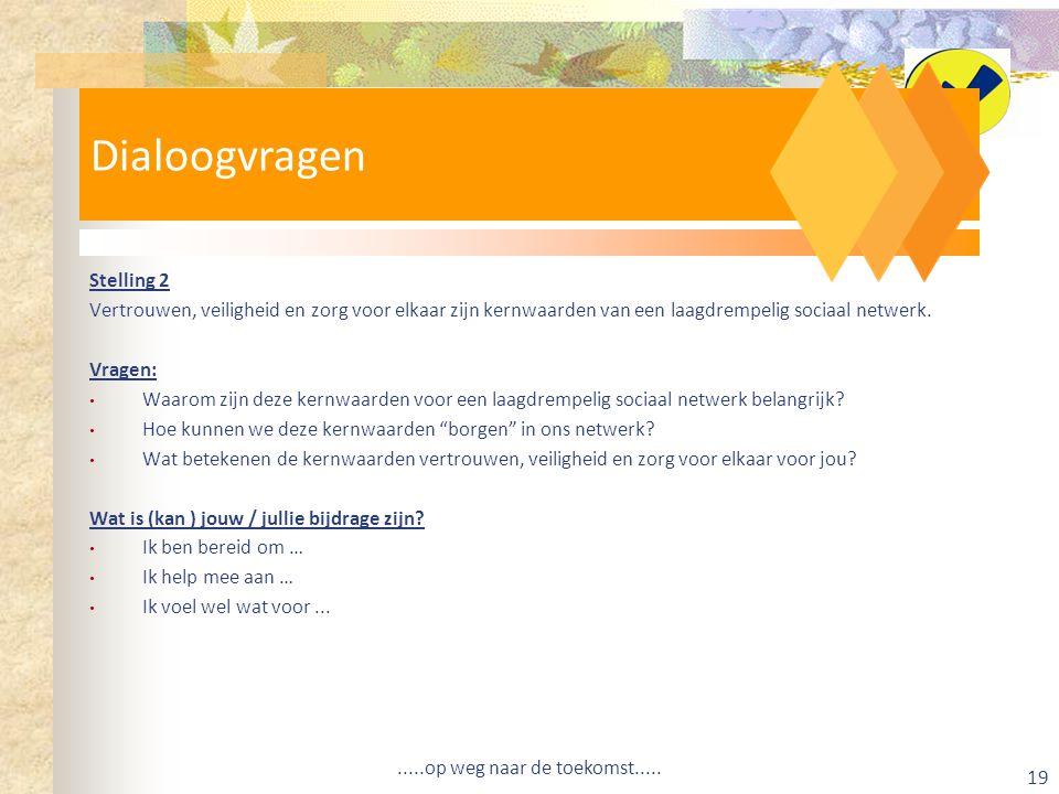 Dialoogvragen Stelling 2 Vertrouwen, veiligheid en zorg voor elkaar zijn kernwaarden van een laagdrempelig sociaal netwerk.