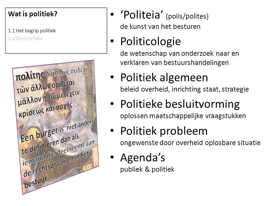 'Politeia' (polis/polites) de kunst van het besturen Politicologie de wetenschap van onderzoek naar en verklaren van bestuurshandelingen Politiek alge