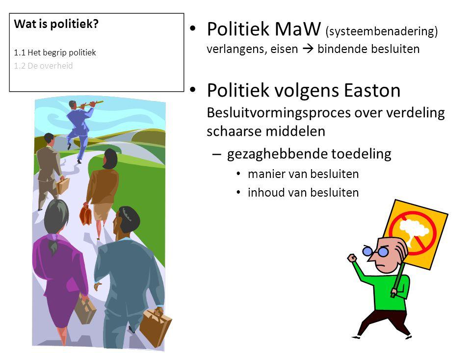 Politiek MaW (systeembenadering) verlangens, eisen  bindende besluiten Politiek volgens Easton Besluitvormingsproces over verdeling schaarse middelen