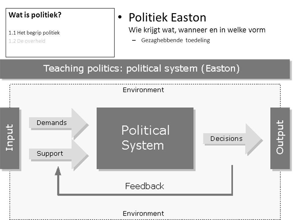 Politiek Easton Wie krijgt wat, wanneer en in welke vorm – Gezaghebbende toedeling Wat is politiek? 1.1 Het begrip politiek 1.2 De overheid