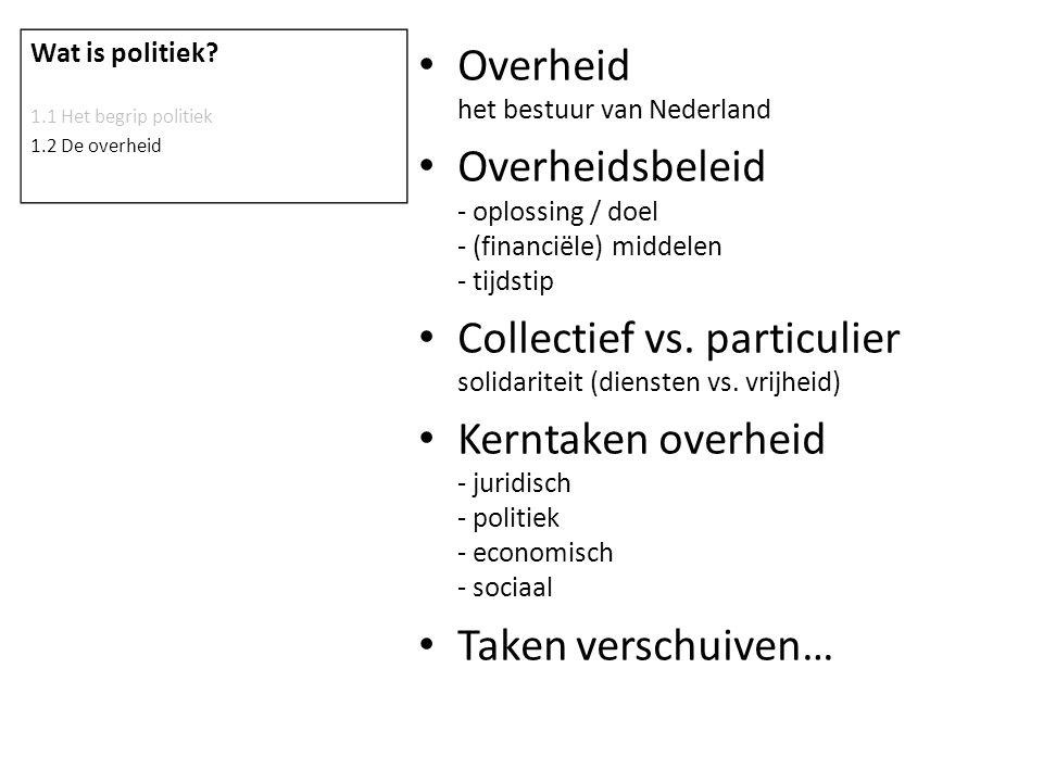 Overheid het bestuur van Nederland Overheidsbeleid - oplossing / doel - (financiële) middelen - tijdstip Collectief vs. particulier solidariteit (dien