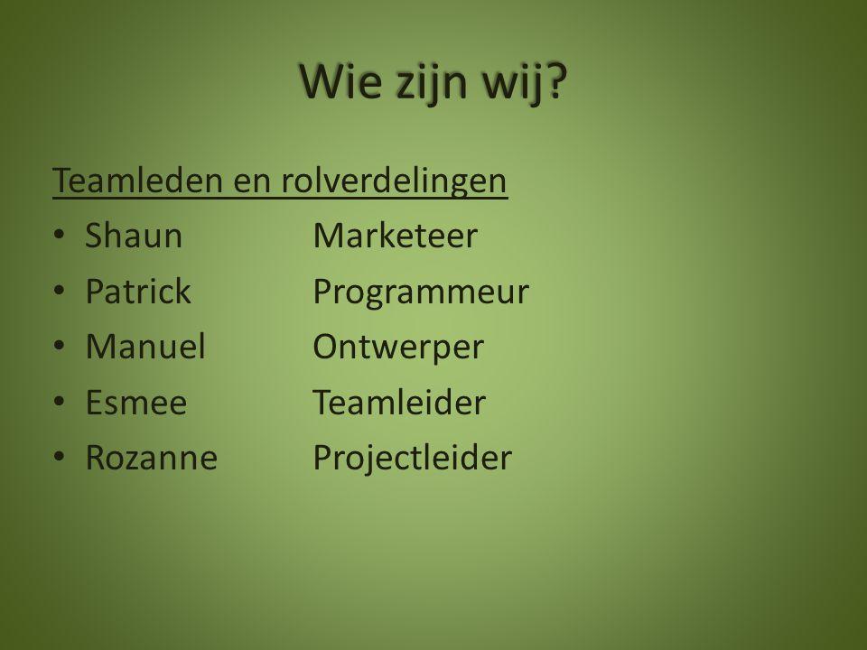 Wie zijn wij? Teamleden en rolverdelingen Shaun Marketeer PatrickProgrammeur ManuelOntwerper Esmee Teamleider Rozanne Projectleider