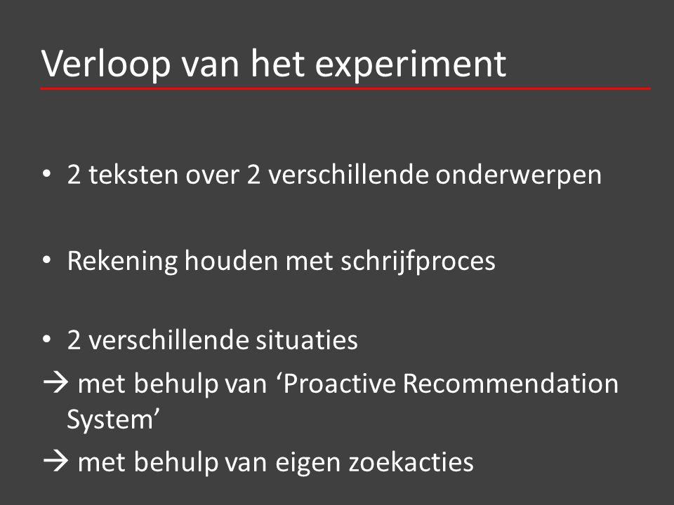 Verloop van het experiment 2 teksten over 2 verschillende onderwerpen Rekening houden met schrijfproces 2 verschillende situaties  met behulp van 'Proactive Recommendation System'  met behulp van eigen zoekacties
