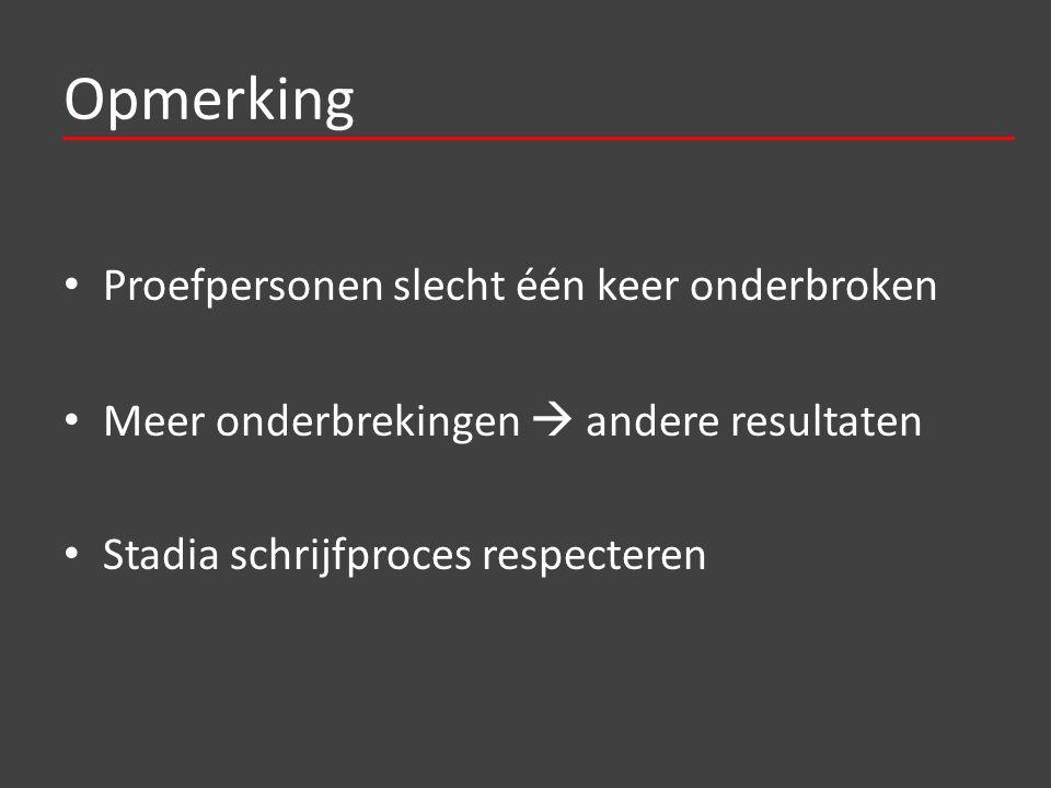 Opmerking Proefpersonen slecht één keer onderbroken Meer onderbrekingen  andere resultaten Stadia schrijfproces respecteren