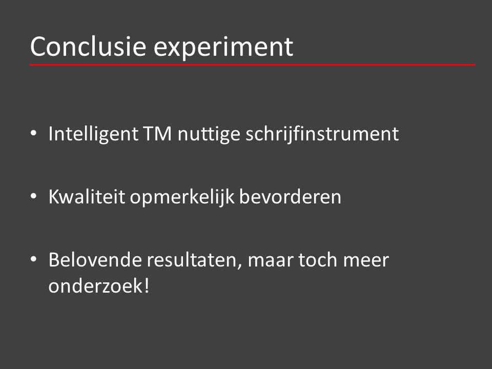 Conclusie experiment Intelligent TM nuttige schrijfinstrument Kwaliteit opmerkelijk bevorderen Belovende resultaten, maar toch meer onderzoek!