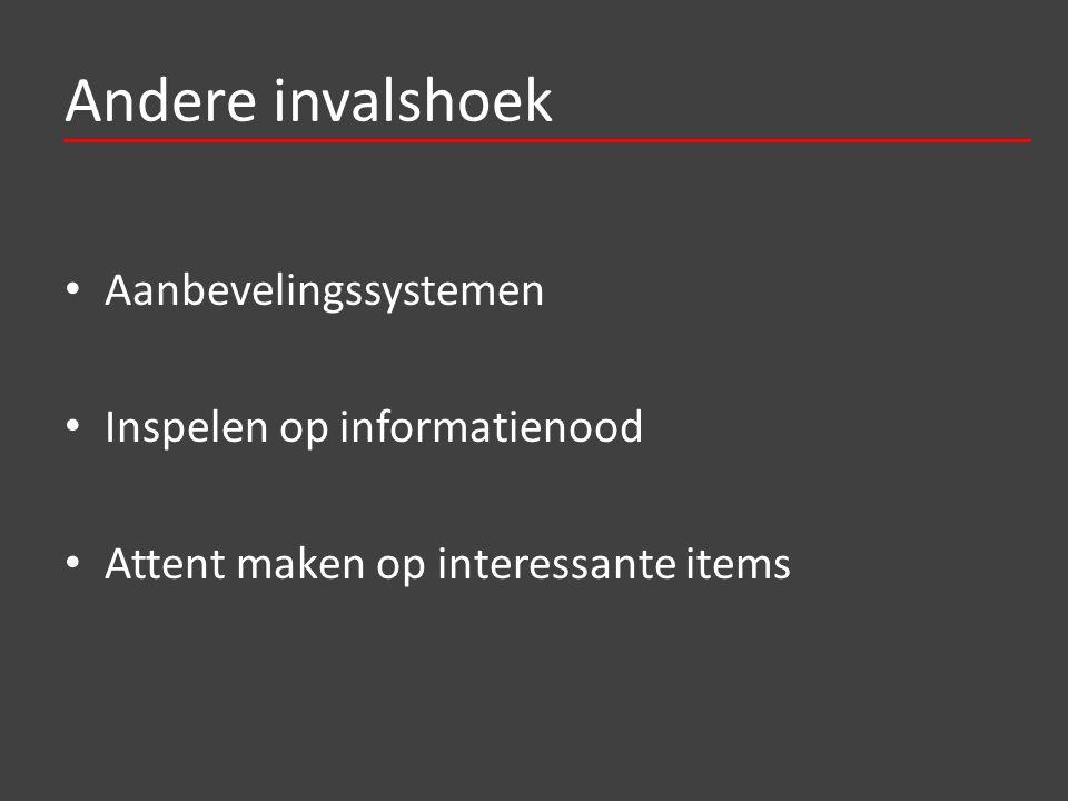 Andere invalshoek Aanbevelingssystemen Inspelen op informatienood Attent maken op interessante items