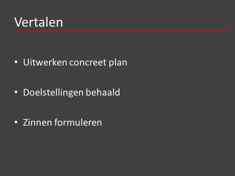 Vertalen Uitwerken concreet plan Doelstellingen behaald Zinnen formuleren