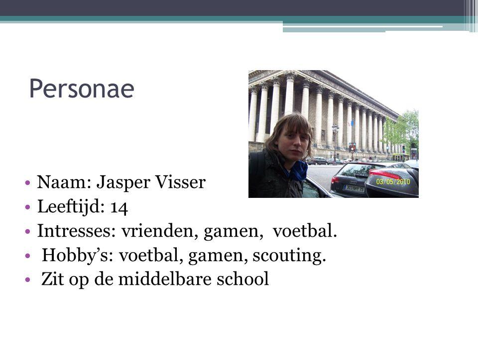 Personae Naam: Jasper Visser Leeftijd: 14 Intresses: vrienden, gamen, voetbal. Hobby's: voetbal, gamen, scouting. Zit op de middelbare school