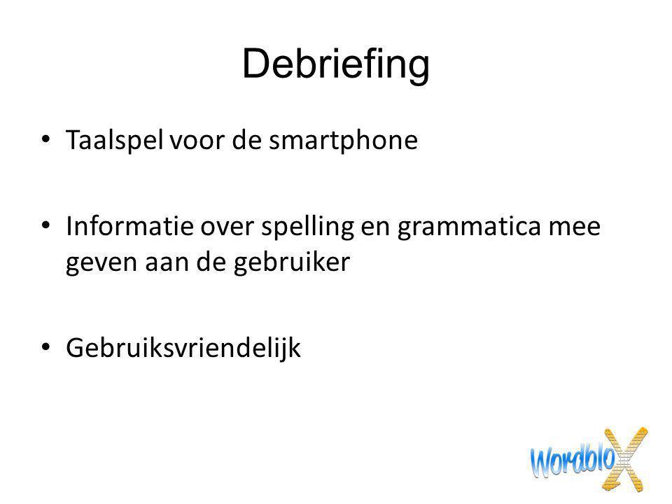 Debriefing Taalspel voor de smartphone Informatie over spelling en grammatica mee geven aan de gebruiker Gebruiksvriendelijk
