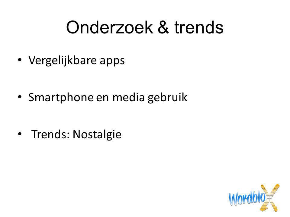 Onderzoek & trends Vergelijkbare apps Smartphone en media gebruik Trends: Nostalgie