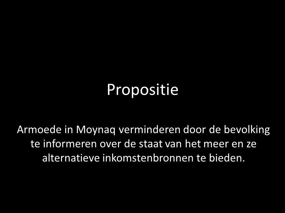 Propositie Armoede in Moynaq verminderen door de bevolking te informeren over de staat van het meer en ze alternatieve inkomstenbronnen te bieden.