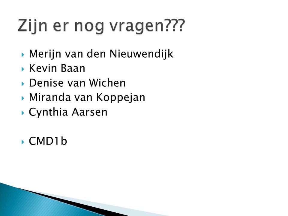  Merijn van den Nieuwendijk  Kevin Baan  Denise van Wichen  Miranda van Koppejan  Cynthia Aarsen  CMD1b