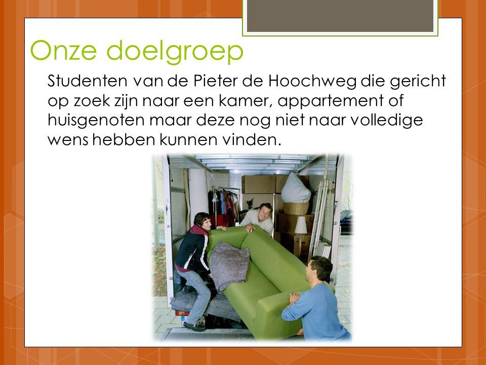 Onze doelgroep Studenten van de Pieter de Hoochweg die gericht op zoek zijn naar een kamer, appartement of huisgenoten maar deze nog niet naar volledige wens hebben kunnen vinden.