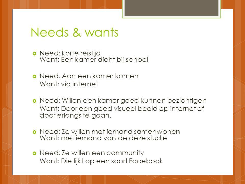 Needs & wants  Need: korte reistijd Want: Een kamer dicht bij school  Need: Aan een kamer komen Want: via internet  Need: Willen een kamer goed kunnen bezichtigen Want: Door een goed visueel beeld op internet of door erlangs te gaan.