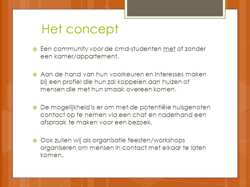 Het concept  Een community voor de cmd-studenten met of zonder een kamer/appartement.  Aan de hand van hun voorkeuren en interesses maken bij een pr