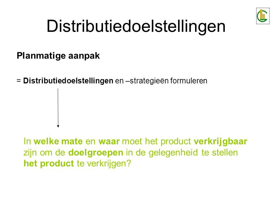 Distributiedoelstellingen Planmatige aanpak = Distributiedoelstellingen en –strategieën formuleren In welke mate en waar moet het product verkrijgbaar zijn om de doelgroepen in de gelegenheid te stellen het product te verkrijgen?