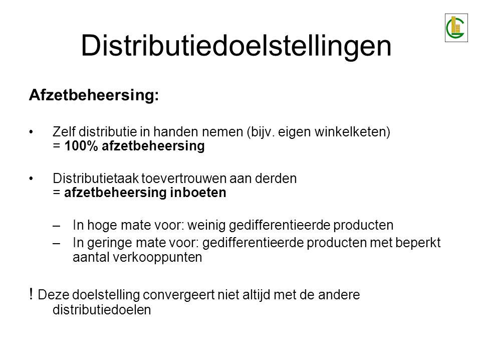 Afzetbeheersing: Zelf distributie in handen nemen (bijv. eigen winkelketen) = 100% afzetbeheersing Distributietaak toevertrouwen aan derden = afzetbeh
