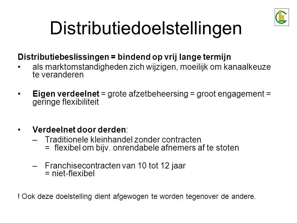 Distributiebeslissingen = bindend op vrij lange termijn als marktomstandigheden zich wijzigen, moeilijk om kanaalkeuze te veranderen Eigen verdeelnet = grote afzetbeheersing = groot engagement = geringe flexibiliteit Verdeelnet door derden: –Traditionele kleinhandel zonder contracten = flexibel om bijv.