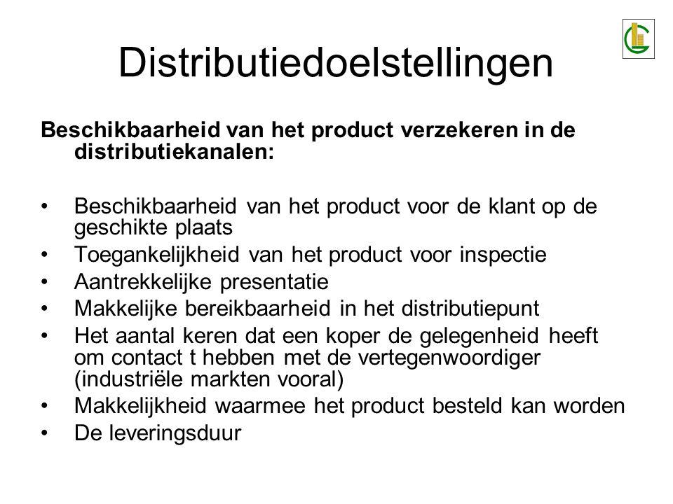 Beschikbaarheid van het product verzekeren in de distributiekanalen: Beschikbaarheid van het product voor de klant op de geschikte plaats Toegankelijkheid van het product voor inspectie Aantrekkelijke presentatie Makkelijke bereikbaarheid in het distributiepunt Het aantal keren dat een koper de gelegenheid heeft om contact t hebben met de vertegenwoordiger (industriële markten vooral) Makkelijkheid waarmee het product besteld kan worden De leveringsduur Distributiedoelstellingen