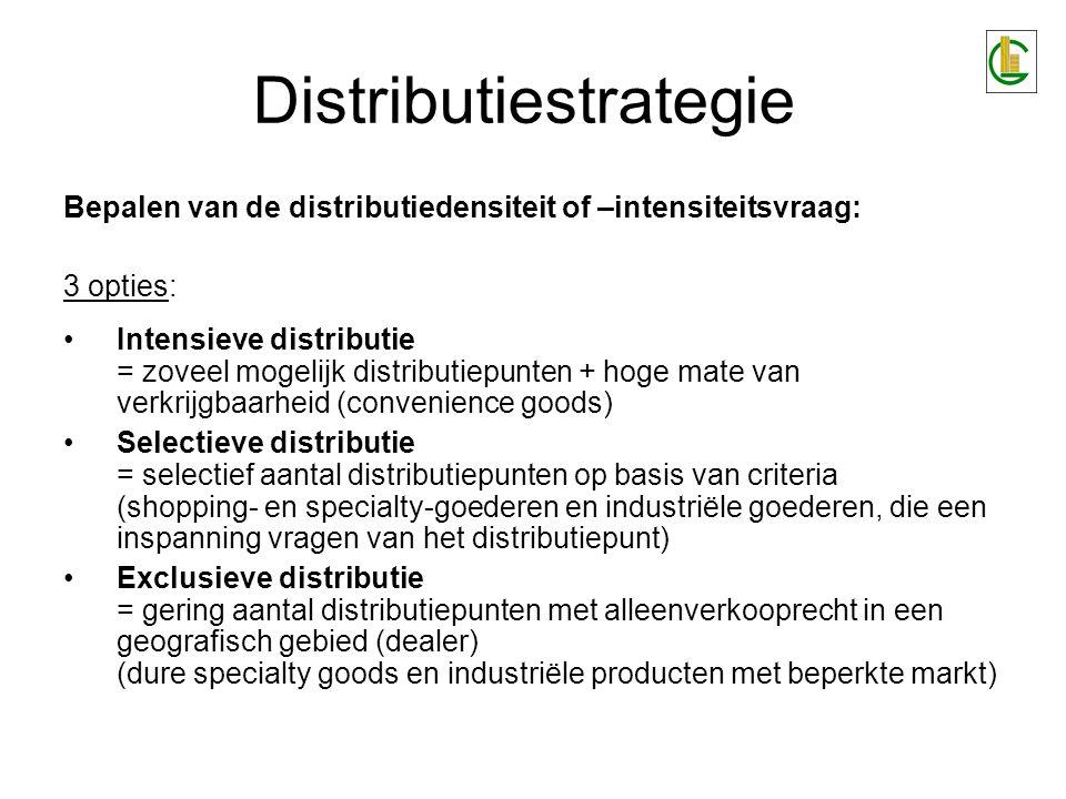 Distributiestrategie Bepalen van de distributiedensiteit of –intensiteitsvraag: 3 opties: Intensieve distributie = zoveel mogelijk distributiepunten +