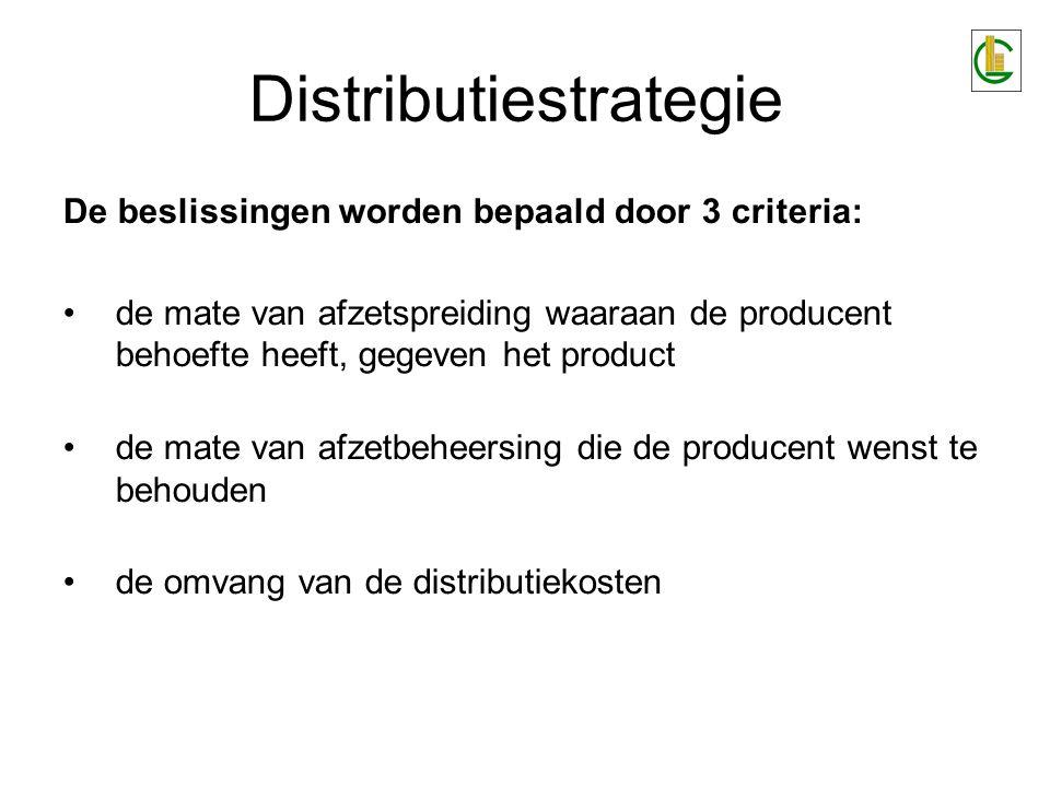 Distributiestrategie De beslissingen worden bepaald door 3 criteria: de mate van afzetspreiding waaraan de producent behoefte heeft, gegeven het produ