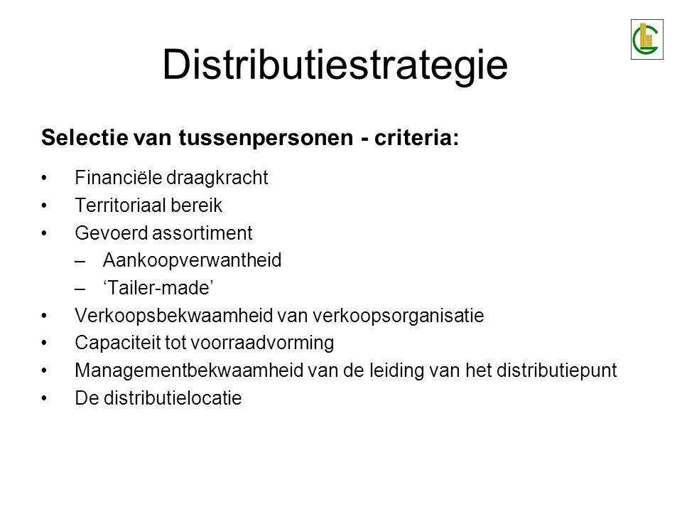 Distributiestrategie Selectie van tussenpersonen - criteria: Financiële draagkracht Territoriaal bereik Gevoerd assortiment –Aankoopverwantheid –'Tail