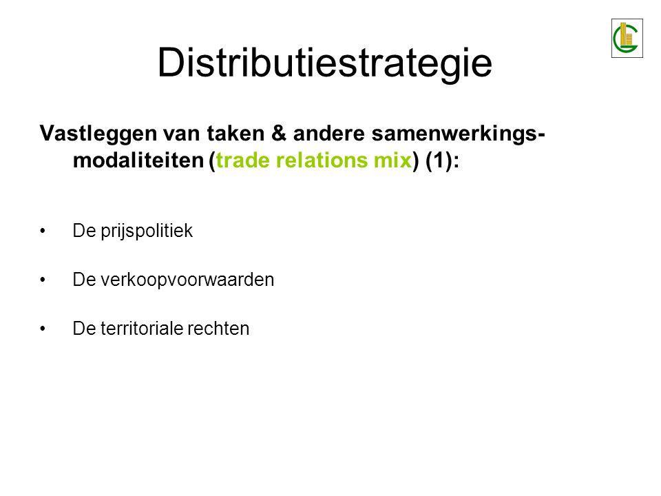 Distributiestrategie Vastleggen van taken & andere samenwerkings- modaliteiten (trade relations mix) (1): De prijspolitiek De verkoopvoorwaarden De te