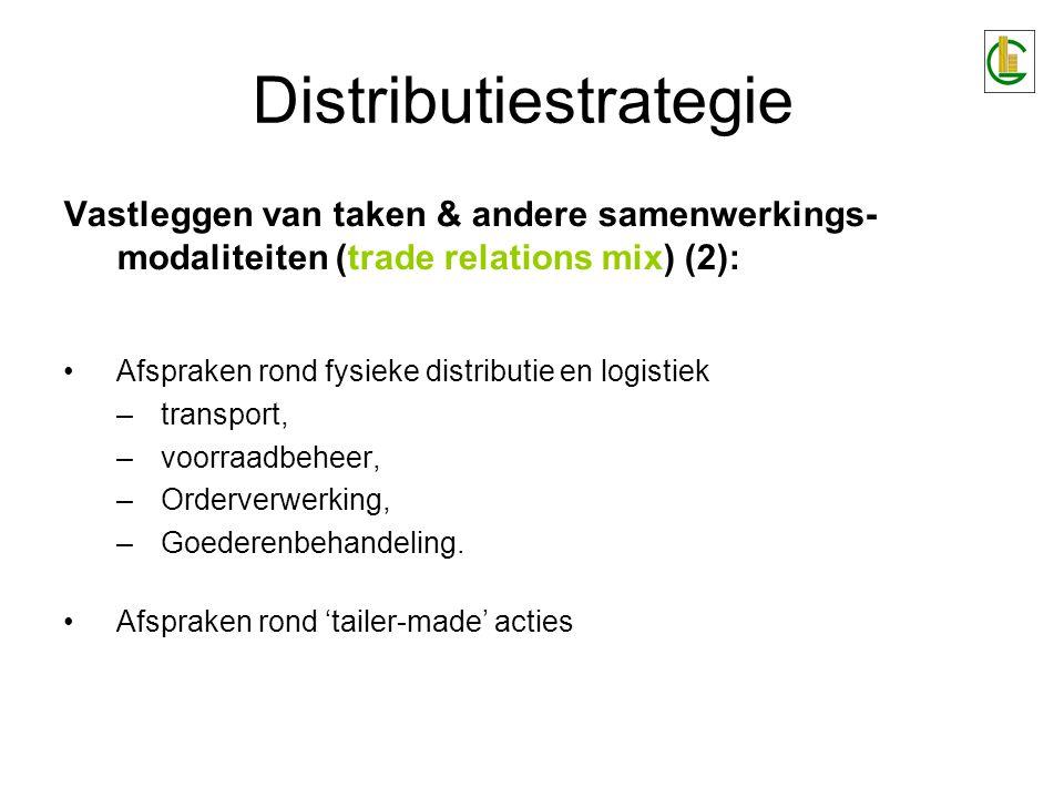 Distributiestrategie Vastleggen van taken & andere samenwerkings- modaliteiten (trade relations mix) (2): Afspraken rond fysieke distributie en logist
