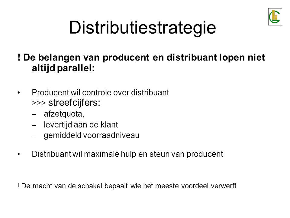 Distributiestrategie ! De belangen van producent en distribuant lopen niet altijd parallel: Producent wil controle over distribuant >>> streefcijfers: