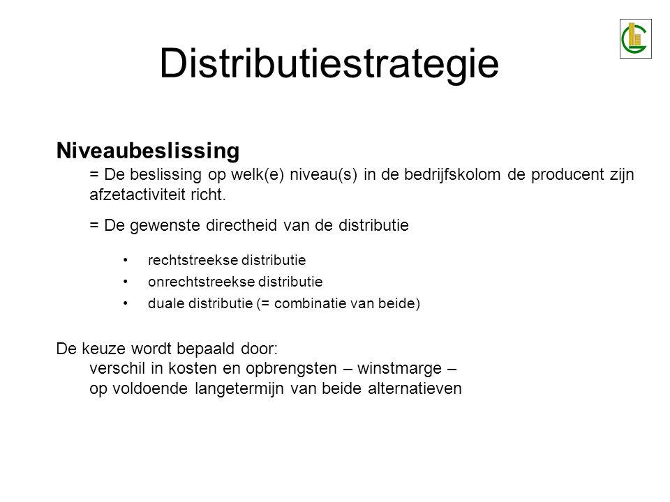 Distributiestrategie Selectie van tussenpersonen - criteria: Financiële draagkracht Territoriaal bereik Gevoerd assortiment –Aankoopverwantheid –'Tailer-made' Verkoopsbekwaamheid van verkoopsorganisatie Capaciteit tot voorraadvorming Managementbekwaamheid van de leiding van het distributiepunt De distributielocatie